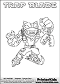 Skylanders Swap Force - TRAP BLADE - Coloring Page 2 Thin Shaded Line