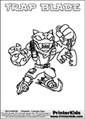 Printable and online colorable page for Skylanders Swap Force fans with the combination figure called TRAP BLADE. TRAP BLADE must be made by combining parts from other Skylanders Swap Force characters! TRAP BLADE is drawn with the upper part of the TRAP SHADOW Skylander and the lower part of the FREEZE BLADE Skylander, the part used from each Skylander is used in the new skylanders name. In this coloring page, the TRAP BLADE skylander can be colored completely. The colouring page is drawn with a very thick line making it ideal for the youngest Skylanders Swap Force fans. The downside of the thick line is that some detail areas become unavailable for coloring. The coloring page has a colorable text with the TRAP BLADE letters as well. Print and color this Skylanders Swap Force TRAP BLADE coloring book page that is drawn and made available by Loke Hansen (http://www.LokeHansen.com) based on the original artwork of the Skylanders characters from the Skylanders Swap Force website. Be sure to check the two other variants of this coloring page for more line width options.