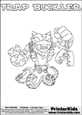 Printable or online colorable Skylanders Swap Force coloring page. This colouring sheet show the combination skylander TRAP BUCKLER that has to be made by combining parts from other Skylanders Swap Force characters! TRAP BUCKLER is drawn with the upper part of the TRAP SHADOW Skylander and the lower part of the WASH BUCKLER Skylander. In this coloring page, the TRAP BUCKLER skylander can be colored in full - as a complete skylander. The colouring page is drawn with a super thin line and has a colorable text with the TRAP BUCKLER letters as well. Print and color this Skylanders Swap Force TRAP BUCKLER coloring book page that is drawn and made available by Loke Hansen (http://www.LokeHansen.com) based on the original artwork of the Skylanders characters from the Skylanders Swap Force website. This coloring page variant has the highest amount of detail areas due to the thin drawing line used. Be sure to check the two other variants of this coloring page for more stroke (the line used to draw the TRAP BUCKLER with) options.