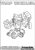 Skylanders Swap Force - TRAP BUCKLER - Coloring Page 2 Thin Shaded Line