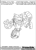 Printable or online colorable Skylanders Swap Force coloring page. This colouring sheet show the combination skylander TRAP CHARGE that has to be made by combining parts from other Skylanders Swap Force characters! TRAP CHARGE is drawn with the upper part of the TRAP SHADOW Skylander and the lower part of the MAGNA CHARGE Skylander. In this coloring page, the TRAP CHARGE skylander can be colored in full - as a complete skylander. The colouring page is drawn with a super thin line and has a colorable text with the TRAP CHARGE letters as well. Print and color this Skylanders Swap Force TRAP CHARGE coloring book page that is drawn and made available by Loke Hansen (http://www.LokeHansen.com) based on the original artwork of the Skylanders characters from the Skylanders Swap Force website. This coloring page variant has the highest amount of detail areas due to the thin drawing line used. Be sure to check the two other variants of this coloring page for more stroke (the line used to draw the TRAP CHARGE with) options.