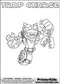 Skylanders Swap Force coloring page with TRAP CHARGE. The TRAP CHARGE Skylander figure cannot be bought as it is, it must be made by combining parts from TRAP SHADOW AND MAGNA CHARGE! TRAP CHARGE is drawn with the upper part of the TRAP SHADOW Skylander and the lower part of the MAGNA CHARGE Skylander. In this coloring page, the TRAP CHARGE skylander can be colored completely. The colouring page is drawn with a thin shaded line and has a colorable text with the TRAP CHARGE letters as well. Print and color this Skylanders Swap Force TRAP CHARGE coloring book page that is drawn and made available by Loke Hansen (http://www.LokeHansen.com) based on the original artwork of the Skylanders characters from the Skylanders Swap Force website. This line variant is the -editors choice- where detail areas and line appearance are in best balance. Be sure to check the two other variants of this coloring page for more stroke (the line used to draw the TRAP CHARGE with) options.