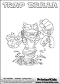 Printable or online colorable Skylanders Swap Force coloring page. This colouring sheet show the combination skylander TRAP DRILLA that has to be made by combining parts from other Skylanders Swap Force characters! TRAP DRILLA is drawn with the upper part of the TRAP SHADOW Skylander and the lower part of the GRILLA DRILLA Skylander. In this coloring page, the TRAP DRILLA skylander can be colored in full - as a complete skylander. The colouring page is drawn with a super thin line and has a colorable text with the TRAP DRILLA letters as well. Print and color this Skylanders Swap Force TRAP DRILLA coloring book page that is drawn and made available by Loke Hansen (http://www.LokeHansen.com) based on the original artwork of the Skylanders characters from the Skylanders Swap Force website. This coloring page variant has the highest amount of detail areas due to the thin drawing line used. Be sure to check the two other variants of this coloring page for more stroke (the line used to draw the TRAP DRILLA with) options.
