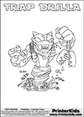 Skylanders Swap Force - TRAP DRILLA - Coloring Page 2 Thin Shaded Line
