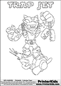 Printable or online colorable Skylanders Swap Force coloring page. This colouring sheet show the combination skylander TRAP JET that has to be made by combining parts from other Skylanders Swap Force characters! TRAP JET is drawn with the upper part of the TRAP SHADOW Skylander and the lower part of the BOOM JET Skylander. In this coloring page, the TRAP JET skylander can be colored in full - as a complete skylander. The colouring page is drawn with a super thin line and has a colorable text with the TRAP JET letters as well. Print and color this Skylanders Swap Force TRAP JET coloring book page that is drawn and made available by Loke Hansen (http://www.LokeHansen.com) based on the original artwork of the Skylanders characters from the Skylanders Swap Force website. This coloring page variant has the highest amount of detail areas due to the thin drawing line used. Be sure to check the two other variants of this coloring page for more stroke (the line used to draw the TRAP JET with) options.