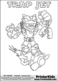 Skylanders Swap Force coloring page with TRAP JET. The TRAP JET Skylander figure cannot be bought as it is, it must be made by combining parts from TRAP SHADOW AND BOOM JET! TRAP JET is drawn with the upper part of the TRAP SHADOW Skylander and the lower part of the BOOM JET Skylander. In this coloring page, the TRAP JET skylander can be colored completely. The colouring page is drawn with a thin shaded line and has a colorable text with the TRAP JET letters as well. Print and color this Skylanders Swap Force TRAP JET coloring book page that is drawn and made available by Loke Hansen (http://www.LokeHansen.com) based on the original artwork of the Skylanders characters from the Skylanders Swap Force website. This line variant is the -editors choice- where detail areas and line appearance are in best balance. Be sure to check the two other variants of this coloring page for more stroke (the line used to draw the TRAP JET with) options.
