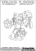 Printable or online colorable Skylanders Swap Force coloring page. This colouring sheet show the combination skylander TRAP LOOP that has to be made by combining parts from other Skylanders Swap Force characters! TRAP LOOP is drawn with the upper part of the TRAP SHADOW Skylander and the lower part of the HOOT LOOP Skylander. In this coloring page, the TRAP LOOP skylander can be colored in full - as a complete skylander. The colouring page is drawn with a super thin line and has a colorable text with the TRAP LOOP letters as well. Print and color this Skylanders Swap Force TRAP LOOP coloring book page that is drawn and made available by Loke Hansen (http://www.LokeHansen.com) based on the original artwork of the Skylanders characters from the Skylanders Swap Force website. This coloring page variant has the highest amount of detail areas due to the thin drawing line used. Be sure to check the two other variants of this coloring page for more stroke (the line used to draw the TRAP LOOP with) options.