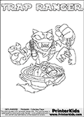 Skylanders Swap Force coloring page with TRAP RANGER. The TRAP RANGER Skylander figure cannot be bought as it is, it must be made by combining parts from TRAP SHADOW AND FREE RANGER! TRAP RANGER is drawn with the upper part of the TRAP SHADOW Skylander and the lower part of the FREE RANGER Skylander. In this coloring page, the TRAP RANGER skylander can be colored completely. The colouring page is drawn with a thin shaded line and has a colorable text with the TRAP RANGER letters as well. Print and color this Skylanders Swap Force TRAP RANGER coloring book page that is drawn and made available by Loke Hansen (http://www.LokeHansen.com) based on the original artwork of the Skylanders characters from the Skylanders Swap Force website. This line variant is the -editors choice- where detail areas and line appearance are in best balance. Be sure to check the two other variants of this coloring page for more stroke (the line used to draw the TRAP RANGER with) options.
