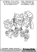 Skylanders Swap Force - TRAP RISE - Coloring Page 2 Thin Shaded Line