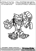 Skylanders Swap Force - TRAP ROUSER - Coloring Page 3 Thick Line