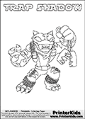 Coloring page with TRAP SHADOW from the 2013 Skylanders game called Skylanders Swap Force. The Skylanders Swap Force universe offer new unique characters that can be combined into even more characters. The Skylanders character in this coloring print - TRAP SHADOW is a standard character and has no parts from other Skylanders characters. It can however replace either the upper or lower body with that of another Skylanders character. This coloring page for printing show the Skylander in full. Print and color this Skylanders Swap Force TRAP SHADOW page that is drawn by Loke Hansen (http://www.LokeHansen.com) based on the original artwork of the Skylanders characters.