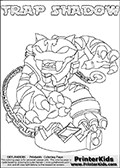 Printable or online colorable Skylanders Swap Force coloring page with the original swappable character TRAP SHADOW. TRAP SHADOW is a Skylander that can be bought and combined with other swappable Skylanders - the two parts TRAP and SHADOW are in the same figure box! The colouring page is drawn with a super thin line that has a shadow applied to it. This make the stroke easier to see while maintaining the majority of the colorable areas. The printable coloring page also have the skylander name as colorable text. Print and color this Skylanders Swap Force TRAP SHADOW coloring print page that is drawn and made available by Loke Hansen (http://www.LokeHansen.com) based on the original artwork of the Skylanders characters from the Skylanders Swap Force website.