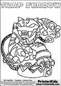 Printable or online colorable Skylanders Swap Force coloring page with the original swappable character TRAP SHADOW. TRAP SHADOW is a Skylander that can be bought and combined with other swappable Skylanders - the two parts TRAP and SHADOW are in the same figure box! The colouring page is drawn with a thick line. This make the coloring page ideal for the youngest fans. The printable coloring page also have the skylander name as colorable text. Print and color this Skylanders Swap Force TRAP SHADOW coloring print page that is drawn and made available by Loke Hansen (http://www.LokeHansen.com) based on the original artwork of the Skylanders characters from the Skylanders Swap Force website.