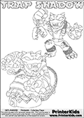 Printable or online colorable Skylanders Swap Force coloring page with two colorable variants of the original swappable character TRAP SHADOW. TRAP SHADOW is a Skylander that can be bought and combined with other swappable Skylanders - the two parts TRAP and SHADOW are in the same figure box! The colouring page is drawn with a super thin line and has a colorable text with the TRAP SHADOW letters. Print and color this Skylanders Swap Force TRAP SHADOW coloring print page that is drawn and made available by Loke Hansen (http://www.LokeHansen.com) based on the original artwork of the Skylanders characters from the Skylanders Swap Force website. This coloring page variant has the highest amount of detail areas due to the thin drawing line used. Be sure to check the two other variants of this coloring page for more stroke (the line used to draw the TRAP SHADOW with) options.