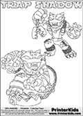 Printable or online colorable Skylanders Swap Force coloring page with two colorable variants of  the original swappable character TRAP SHADOW. TRAP SHADOW is a Skylander that can be bought and combined with other swappable Skylanders - the two parts TRAP and SHADOW are in the same figure box! The colouring page is drawn with a super thin line that has a shadow applied to it. This make the stroke easier to see while maintaining the majority of the colorable areas. The printable coloring page also have the skylander name as colorable text. Print and color this Skylanders Swap Force TRAP SHADOW coloring print page that is drawn and made available by Loke Hansen (http://www.LokeHansen.com) based on the original artwork of the Skylanders characters from the Skylanders Swap Force website.