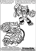 Printable or online colorable Skylanders Swap Force coloring page with two colorable variants of  the original swappable character TRAP SHADOW. TRAP SHADOW is a Skylander that can be bought and combined with other swappable Skylanders - the two parts TRAP and SHADOW are in the same figure box! The colouring page is drawn with a thick line. This make the coloring page ideal for the youngest fans. The printable coloring page also have the skylander name as colorable text. Print and color this Skylanders Swap Force TRAP SHADOW coloring print page that is drawn and made available by Loke Hansen (http://www.LokeHansen.com) based on the original artwork of the Skylanders characters from the Skylanders Swap Force website.