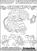 Printable or online colorable Skylanders Swap Force coloring page with the original swappable character TRAP SHADOW and 6 Chompy figures (chompies that can be colored). Chompies are somewhat easy opponents players face in the different Skylanders games. TRAP SHADOW is a Skylander that can be bought and combined with other swappable Skylanders - the two parts TRAP and SHADOW are in the same figure box! The colouring page is drawn with a super thin line and has a colorable text with the TRAP SHADOW and CHOMPY letters. Print and color this Skylanders Swap Force TRAP SHADOW coloring print page that is drawn and made available by Loke Hansen (http://www.LokeHansen.com) based on the original artwork of the Skylanders characters from the Skylanders Swap Force website. This coloring page variant has the highest amount of detail areas due to the thin drawing line used. Be sure to check the two other variants of this coloring page for more stroke (the line used to draw the TRAP SHADOW with) options.