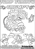 Printable or online colorable Skylanders Swap Force coloring page with the original swappable character TRAP SHADOW and 6 Chompy figures (chompies that can be colored). Chompies are somewhat easy opponents players face in the different Skylanders games.  TRAP SHADOW is a Skylander that can be bought and combined with other swappable Skylanders - the two parts TRAP and SHADOW are in the same figure box! The colouring page is drawn with a super thin line that has a shadow applied to it. This make the stroke easier to see while maintaining the majority of the colorable areas. The printable coloring page also have the skylander name and CHOMPY as colorable text. Print and color this Skylanders Swap Force TRAP SHADOW coloring print page that is drawn and made available by Loke Hansen (http://www.LokeHansen.com) based on the original artwork of the Skylanders characters from the Skylanders Swap Force website.