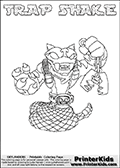 Skylanders Swap Force coloring page with TRAP SHAKE. The TRAP SHAKE Skylander figure cannot be bought as it is, it must be made by combining parts from TRAP SHADOW and RATTLE SHAKE! TRAP SHAKE is drawn with the upper part of the TRAP SHADOW Skylander and the lower part of the RATTLE SHAKE Skylander. In this coloring page, the TRAP SHAKE skylander can be colored completely. The colouring page is drawn with a thin shaded line and has a colorable text with the TRAP SHAKE letters as well. Print and color this Skylanders Swap Force TRAP SHAKE coloring book page that is drawn and made available by Loke Hansen (http://www.LokeHansen.com) based on the original artwork of the Skylanders characters from the Skylanders Swap Force website. This line variant is the -editors choice- where detail areas and line appearance are in best balance. Be sure to check the two other variants of this coloring page for more stroke (the line used to draw the TRAP SHAKE with) options.