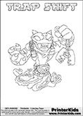 Printable or online colorable Skylanders Swap Force coloring page. This colouring sheet show the combination skylander TRAP SHIFT that has to be made by combining parts from other Skylanders Swap Force characters! TRAP SHIFT is drawn with the upper part of the TRAP SHADOW Skylander and the lower part of the NIGHT SHIFT Skylander. In this coloring page, the TRAP SHIFT skylander can be colored in full - as a complete skylander. The colouring page is drawn with a super thin line and has a colorable text with the TRAP SHIFT letters as well. Print and color this Skylanders Swap Force TRAP SHIFT coloring book page that is drawn and made available by Loke Hansen (http://www.LokeHansen.com) based on the original artwork of the Skylanders characters from the Skylanders Swap Force website. This coloring page variant has the highest amount of detail areas due to the thin drawing line used. Be sure to check the two other variants of this coloring page for more stroke (the line used to draw the TRAP SHIFT with) options.