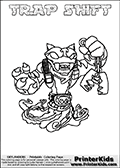 Skylanders Swap Force - TRAP SHIFT - Coloring Page 3 Thick Line