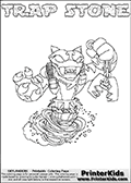 Skylanders Swap Force - TRAP STONE - Coloring Page 2 Thin Shaded Line