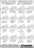 Printable or online colorable Skylanders Swap Force coloring page with all 16 combinations of Skylanders made with the TRAP upper part. The skylanders coloring figures are relatively small - but there are 16 different on this coloring page. Print and color this Skylanders Swap Force TRAP SWAP coloring print page that is drawn and made available by Loke Hansen (http://www.LokeHansen.com) based on the original artwork of the Skylanders characters from the Skylanders Swap Force website. This coloring page variant has the highest amount of detail areas due to the thin drawing line used. The Skylanders combinations show here for coloring are: TRAP ZONE, TRAP JET, TRAP STONE, TRAP SHADOW, TRAP RANGER, TRAP BLADE, TRAP DRILLA, TRAP LOOP, TRAP SHADOW, TRAP SHADOW, TRAP SHADOW, TRAP ROUSER, TRAP RISE, TRAP BOMB, TRAP SHADOW and TRAP BUCKLER.