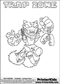 Skylanders Swap Force coloring page with TRAP ZONE. The TRAP ZONE Skylander figure cannot be bought as it is, it must be made by combining parts from TRAP SHADOW and BLAST ZONE! TRAP ZONE is drawn with the upper part of the TRAP SHADOW Skylander and the lower part of the BLAST ZONE Skylander. In this coloring page, the TRAP ZONE skylander can be colored completely. The colouring page is drawn with a thin shaded line and has a colorable text with the TRAP ZONE letters as well. Print and color this Skylanders Swap Force TRAP ZONE coloring book page that is drawn and made available by Loke Hansen (http://www.LokeHansen.com) based on the original artwork of the Skylanders characters from the Skylanders Swap Force website. This line variant is the -editors choice- where detail areas and line appearance are in best balance. Be sure to check the two other variants of this coloring page for more stroke (the line used to draw the TRAP ZONE with) options.