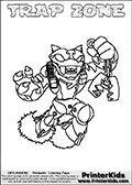 Printable and online colorable page for Skylanders Swap Force fans with the combination figure called TRAP ZONE. TRAP ZONE must be made by combining parts from other Skylanders Swap Force characters! TRAP ZONE is drawn with the upper part of the TRAP SHADOW Skylander and the lower part of the BLAST ZONE Skylander, the part used from each Skylander is used in the new skylanders name. In this coloring page, the TRAP ZONE skylander can be colored completely. The colouring page is drawn with a very thick line making it ideal for the youngest Skylanders Swap Force fans. The downside of the thick line is that some detail areas become unavailable for coloring. The coloring page has a colorable text with the TRAP ZONE letters as well. Print and color this Skylanders Swap Force TRAP ZONE coloring book page that is drawn and made available by Loke Hansen (http://www.LokeHansen.com) based on the original artwork of the Skylanders characters from the Skylanders Swap Force website. Be sure to check the two other variants of this coloring page for more line width options.