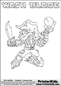 Printable WASH BLADE online colorable Skylanders Swap Force page. This coloring page can be printed or colored online! The sheet show the combination skylander WASH BLADE that has to be made by combining parts from other Skylanders Swap Force characters! WASH BLADE is drawn with the upper part of the WASH BUCKLER Skylander and the lower part of the FREEZE BLADE Skylander. In this coloring page, the WASH BLADE skylander can be colored in full - as a complete skylander. The colouring page is drawn with a super thin line and has a colorable text with the WASH BLADE letters as well. Print and color this Skylanders Swap Force WASH BLADE coloring book page that is drawn and made available by Loke Hansen (http://www.LokeHansen.com) based on the original artwork of the Skylanders characters from the Skylanders Swap Force website. This coloring page variant has the highest amount of detail areas due to the thin drawing line used. Be sure to check the two other variants of this coloring page for more stroke (the line used to draw the WASH BLADE with) options.
