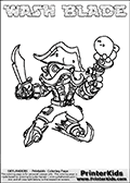 Printable and online colorable page for Skylanders Swap Force fans with the combination figure called WASH BLADE. WASH BLADE must be made by combining parts from other Skylanders Swap Force characters! WASH BLADE is drawn with the upper part of the WASH BUCKLER Skylander and the lower part of the FREEZE BLADE Skylander, the part used from each Skylander is used in the new skylanders name. In this coloring page, the WASH BLADE skylander can be colored completely. The colouring page is drawn with a very thick line making it ideal for the youngest Skylanders Swap Force fans. The downside of the thick line is that some detail areas become unavailable for coloring. The coloring page has a colorable text with the WASH BLADE letters as well. Print and color this Skylanders Swap Force WASH BLADE coloring book page that is drawn and made available by Loke Hansen (http://www.LokeHansen.com) based on the original artwork of the Skylanders characters from the Skylanders Swap Force website. Be sure to check the two other variants of this coloring page for more line width options.