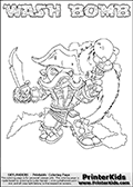 Printable WASH BOMB online colorable Skylanders Swap Force page. This coloring page can be printed or colored online! The sheet show the combination skylander WASH BOMB that has to be made by combining parts from other Skylanders Swap Force characters! WASH BOMB is drawn with the upper part of the WASH BUCKLER Skylander and the lower part of the FREEZE BOMB Skylander. In this coloring page, the WASH BOMB skylander can be colored in full - as a complete skylander. The colouring page is drawn with a super thin line and has a colorable text with the WASH BOMB letters as well. Print and color this Skylanders Swap Force WASH BOMB coloring book page that is drawn and made available by Loke Hansen (http://www.LokeHansen.com) based on the original artwork of the Skylanders characters from the Skylanders Swap Force website. This coloring page variant has the highest amount of detail areas due to the thin drawing line used. Be sure to check the two other variants of this coloring page for more stroke (the line used to draw the WASH BOMB with) options.
