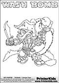 Skylanders Swap Force coloring page with WASH BOMB. The WASH BOMB Skylander figure cannot be bought as it is, it must be made by combining parts from WASH BUCKLER and FREEZE BOMB! WASH BOMB is drawn with the upper part of the WASH BUCKLER Skylander and the lower part of the FREEZE BOMB Skylander. In this coloring page, the WASH BOMB skylander can be colored completely. The colouring page is drawn with a thin shaded line and has a colorable text with the WASH BOMB letters as well. Print and color this Skylanders Swap Force WASH BOMB coloring book page that is drawn and made available by Loke Hansen (http://www.LokeHansen.com) based on the original artwork of the Skylanders characters from the Skylanders Swap Force website. This line variant is the -editors choice- where detail areas and line appearance are in best balance. Be sure to check the two other variants of this coloring page for more stroke (the line used to draw the WASH BOMB with) options.
