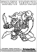 Printable and online colorable page for Skylanders Swap Force fans with the combination figure called WASH BOMB. WASH BOMB must be made by combining parts from other Skylanders Swap Force characters! WASH BOMB is drawn with the upper part of the WASH BUCKLER Skylander and the lower part of the FREEZE BOMB Skylander, the part used from each Skylander is used in the new skylanders name. In this coloring page, the WASH BOMB skylander can be colored completely. The colouring page is drawn with a very thick line making it ideal for the youngest Skylanders Swap Force fans. The downside of the thick line is that some detail areas become unavailable for coloring. The coloring page has a colorable text with the WASH BOMB letters as well. Print and color this Skylanders Swap Force WASH BOMB coloring book page that is drawn and made available by Loke Hansen (http://www.LokeHansen.com) based on the original artwork of the Skylanders characters from the Skylanders Swap Force website. Be sure to check the two other variants of this coloring page for more line width options.