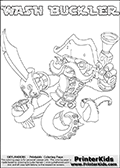 Printable or online colorable Skylanders Swap Force coloring page with the original swappable character WASH BUCKLER. WASH BUCKLER is a Skylander that can be bought and combined with other swappable Skylanders - the two parts WASH and BUCKLER are in the same figure box! The colouring page is drawn with a super thin line and has a colorable text with the WASH BUCKLER letters. Print and color this Skylanders Swap Force WASH BUCKLER coloring print page that is drawn and made available by Loke Hansen (http://www.LokeHansen.com) based on the original artwork of the Skylanders characters from the Skylanders Swap Force website. This coloring page variant has the highest amount of detail areas due to the thin drawing line used. Be sure to check the two other variants of this coloring page for more stroke (the line used to draw the WASH BUCKLER with) options.