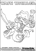 Printable or online colorable Skylanders Swap Force coloring page with the original swappable character WASH BUCKLER. WASH BUCKLER is a Skylander that can be bought and combined with other swappable Skylanders - the two parts WASH and BUCKLER are in the same figure box! The colouring page is drawn with a super thin line that has a shadow applied to it. This make the stroke easier to see while maintaining the majority of the colorable areas. The printable coloring page also have the skylander name as colorable text. Print and color this Skylanders Swap Force WASH BUCKLER coloring print page that is drawn and made available by Loke Hansen (http://www.LokeHansen.com) based on the original artwork of the Skylanders characters from the Skylanders Swap Force website.