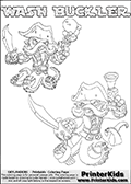 Printable or online colorable Skylanders Swap Force coloring page with two colorable variants of the original swappable character WASH BUCKLER. WASH BUCKLER is a Skylander that can be bought and combined with other swappable Skylanders - the two parts WASH and BUCKLER are in the same figure box! The colouring page is drawn with a super thin line and has a colorable text with the WASH BUCKLER letters. Print and color this Skylanders Swap Force WASH BUCKLER coloring print page that is drawn and made available by Loke Hansen (http://www.LokeHansen.com) based on the original artwork of the Skylanders characters from the Skylanders Swap Force website. This coloring page variant has the highest amount of detail areas due to the thin drawing line used. Be sure to check the two other variants of this coloring page for more stroke (the line used to draw the WASH BUCKLER with) options.