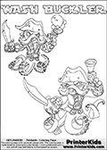 Printable or online colorable Skylanders Swap Force coloring page with two colorable variants of  the original swappable character WASH BUCKLER. WASH BUCKLER is a Skylander that can be bought and combined with other swappable Skylanders - the two parts WASH and BUCKLER are in the same figure box! The colouring page is drawn with a super thin line that has a shadow applied to it. This make the stroke easier to see while maintaining the majority of the colorable areas. The printable coloring page also have the skylander name as colorable text. Print and color this Skylanders Swap Force WASH BUCKLER coloring print page that is drawn and made available by Loke Hansen (http://www.LokeHansen.com) based on the original artwork of the Skylanders characters from the Skylanders Swap Force website.