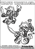 Printable or online colorable Skylanders Swap Force coloring page with two colorable variants of  the original swappable character WASH BUCKLER. WASH BUCKLER is a Skylander that can be bought and combined with other swappable Skylanders - the two parts WASH and BUCKLER are in the same figure box! The colouring page is drawn with a thick line. This make the coloring page ideal for the youngest fans. The printable coloring page also have the skylander name as colorable text. Print and color this Skylanders Swap Force WASH BUCKLER coloring print page that is drawn and made available by Loke Hansen (http://www.LokeHansen.com) based on the original artwork of the Skylanders characters from the Skylanders Swap Force website.