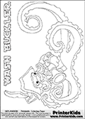 Coloring page with WASH BUCKLER from the 2013 Skylanders game called Skylanders Swap Force. This WASH BUCKLER coloring page show the Skylanders Swap Force figure drawn with the lower part tentacles long and really wiggly. The Skylanders Swap Force universe offer new unique characters that can be combined into even more characters. The Skylanders character in this coloring print - WASH BUCKLER is a standard character and has no parts from other Skylanders characters. It can however replace either the upper or lower body with that of another Skylanders character. This coloring page for printing show the Skylander in full. Print and color this Skylanders Swap Force WASH BUCKLER page that is drawn by Loke Hansen (http://www.LokeHansen.com) based on the original artwork of the Skylanders characters. This Colouring sheet for kids is drawn with a very thin line. This make the coloring page a little harder for younger fans to enjoy - but result in many small detail areas.