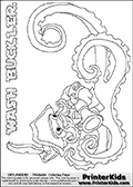 Coloring page with WASH BUCKLER from the 2013 Skylanders game called Skylanders Swap Force. This WASH BUCKLER coloring page show the Skylanders Swap Force figure drawn with the lower part tentacles long and really wiggly. The Skylanders Swap Force universe offer new unique characters that can be combined into even more characters. The Skylanders character in this coloring print - WASH BUCKLER is a standard character and has no parts from other Skylanders characters. It can however replace either the upper or lower body with that of another Skylanders character. This coloring page for printing show the Skylander in full. Print and color this Skylanders Swap Force WASH BUCKLER page that is drawn by Loke Hansen (http://www.LokeHansen.com) based on the original artwork of the Skylanders characters. This Colouring sheet for kids is drawn with a very thin line that has a shadow applied to it. This make the coloring page a somewhat harder for younger fans to enjoy - but result in many small detail areas.