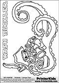 Coloring page with WASH BUCKLER from the 2013 Skylanders game called Skylanders Swap Force. This WASH BUCKLER coloring page show the Skylanders Swap Force figure drawn with the lower part tentacles long and really wiggly. The Skylanders Swap Force universe offer new unique characters that can be combined into even more characters. The Skylanders character in this coloring print - WASH BUCKLER is a standard character and has no parts from other Skylanders characters. It can however replace either the upper or lower body with that of another Skylanders character. This coloring page for printing show the Skylander in full. Print and color this Skylanders Swap Force WASH BUCKLER page that is drawn by Loke Hansen (http://www.LokeHansen.com) based on the original artwork of the Skylanders characters. This Colouring sheet for kids is drawn with a very thin thick thatit. This make the coloring page very easy for younger fans to enjoy - but result in fewer small detail areas.