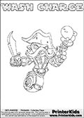 Printable WASH CHARGE online colorable Skylanders Swap Force page. This coloring page can be printed or colored online! The sheet show the combination skylander WASH CHARGE that has to be made by combining parts from other Skylanders Swap Force characters! WASH CHARGE is drawn with the upper part of the WASH BUCKLER Skylander and the lower part of the MAGNA CHARGE Skylander. In this coloring page, the WASH CHARGE skylander can be colored in full - as a complete skylander. The colouring page is drawn with a super thin line and has a colorable text with the WASH CHARGE letters as well. Print and color this Skylanders Swap Force WASH CHARGE coloring book page that is drawn and made available by Loke Hansen (http://www.LokeHansen.com) based on the original artwork of the Skylanders characters from the Skylanders Swap Force website. This coloring page variant has the highest amount of detail areas due to the thin drawing line used. Be sure to check the two other variants of this coloring page for more stroke (the line used to draw the WASH CHARGE with) options.