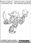 Skylanders Swap Force coloring page with WASH CHARGE. The WASH CHARGE Skylander figure cannot be bought as it is, it must be made by combining parts from WASH BUCKLER and MAGNA CHARGE! WASH CHARGE is drawn with the upper part of the WASH BUCKLER Skylander and the lower part of the MAGNA CHARGE Skylander. In this coloring page, the WASH CHARGE skylander can be colored completely. The colouring page is drawn with a thin shaded line and has a colorable text with the WASH CHARGE letters as well. Print and color this Skylanders Swap Force WASH CHARGE coloring book page that is drawn and made available by Loke Hansen (http://www.LokeHansen.com) based on the original artwork of the Skylanders characters from the Skylanders Swap Force website. This line variant is the -editors choice- where detail areas and line appearance are in best balance. Be sure to check the two other variants of this coloring page for more stroke (the line used to draw the WASH CHARGE with) options.