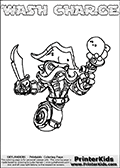 Printable and online colorable page for Skylanders Swap Force fans with the combination figure called WASH CHARGE. WASH CHARGE must be made by combining parts from other Skylanders Swap Force characters! WASH CHARGE is drawn with the upper part of the WASH BUCKLER Skylander and the lower part of the MAGNA CHARGE Skylander, the part used from each Skylander is used in the new skylanders name. In this coloring page, the WASH CHARGE skylander can be colored completely. The colouring page is drawn with a very thick line making it ideal for the youngest Skylanders Swap Force fans. The downside of the thick line is that some detail areas become unavailable for coloring. The coloring page has a colorable text with the WASH CHARGE letters as well. Print and color this Skylanders Swap Force WASH CHARGE coloring book page that is drawn and made available by Loke Hansen (http://www.LokeHansen.com) based on the original artwork of the Skylanders characters from the Skylanders Swap Force website. Be sure to check the two other variants of this coloring page for more line width options.