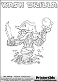 Printable WASH DRILLA online colorable Skylanders Swap Force page. This coloring page can be printed or colored online! The sheet show the combination skylander WASH DRILLA that has to be made by combining parts from other Skylanders Swap Force characters! WASH DRILLA is drawn with the upper part of the WASH BUCKLER Skylander and the lower part of the GRILLA DRILLA Skylander. In this coloring page, the WASH DRILLA skylander can be colored in full - as a complete skylander. The colouring page is drawn with a super thin line and has a colorable text with the WASH DRILLA letters as well. Print and color this Skylanders Swap Force WASH DRILLA coloring book page that is drawn and made available by Loke Hansen (http://www.LokeHansen.com) based on the original artwork of the Skylanders characters from the Skylanders Swap Force website. This coloring page variant has the highest amount of detail areas due to the thin drawing line used. Be sure to check the two other variants of this coloring page for more stroke (the line used to draw the WASH DRILLA with) options.