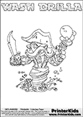 Skylanders Swap Force coloring page with WASH DRILLA. The WASH DRILLA Skylander figure cannot be bought as it is, it must be made by combining parts from WASH BUCKLER and GRILLA DRILLA! WASH DRILLA is drawn with the upper part of the WASH BUCKLER Skylander and the lower part of the GRILLA DRILLA Skylander. In this coloring page, the WASH DRILLA skylander can be colored completely. The colouring page is drawn with a thin shaded line and has a colorable text with the WASH DRILLA letters as well. Print and color this Skylanders Swap Force WASH DRILLA coloring book page that is drawn and made available by Loke Hansen (http://www.LokeHansen.com) based on the original artwork of the Skylanders characters from the Skylanders Swap Force website. This line variant is the -editors choice- where detail areas and line appearance are in best balance. Be sure to check the two other variants of this coloring page for more stroke (the line used to draw the WASH DRILLA with) options.