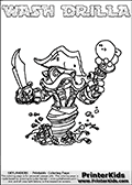 Printable and online colorable page for Skylanders Swap Force fans with the combination figure called WASH DRILLA. WASH DRILLA must be made by combining parts from other Skylanders Swap Force characters! WASH DRILLA is drawn with the upper part of the WASH BUCKLER Skylander and the lower part of the GRILLA DRILLA Skylander, the part used from each Skylander is used in the new skylanders name. In this coloring page, the WASH DRILLA skylander can be colored completely. The colouring page is drawn with a very thick line making it ideal for the youngest Skylanders Swap Force fans. The downside of the thick line is that some detail areas become unavailable for coloring. The coloring page has a colorable text with the WASH DRILLA letters as well. Print and color this Skylanders Swap Force WASH DRILLA coloring book page that is drawn and made available by Loke Hansen (http://www.LokeHansen.com) based on the original artwork of the Skylanders characters from the Skylanders Swap Force website. Be sure to check the two other variants of this coloring page for more line width options.