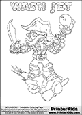 Printable WASH JET online colorable Skylanders Swap Force page. This coloring page can be printed or colored online! The sheet show the combination skylander WASH JET that has to be made by combining parts from other Skylanders Swap Force characters! WASH JET is drawn with the upper part of the WASH BUCKLER Skylander and the lower part of the BOOM JET Skylander. In this coloring page, the WASH JET skylander can be colored in full - as a complete skylander. The colouring page is drawn with a super thin line and has a colorable text with the WASH JET letters as well. Print and color this Skylanders Swap Force WASH JET coloring book page that is drawn and made available by Loke Hansen (http://www.LokeHansen.com) based on the original artwork of the Skylanders characters from the Skylanders Swap Force website. This coloring page variant has the highest amount of detail areas due to the thin drawing line used. Be sure to check the two other variants of this coloring page for more stroke (the line used to draw the WASH JET with) options.