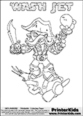 Skylanders Swap Force coloring page with WASH JET. The WASH JET Skylander figure cannot be bought as it is, it must be made by combining parts from WASH BUCKLER and BOOM JET! WASH JET is drawn with the upper part of the WASH BUCKLER Skylander and the lower part of the BOOM JET Skylander. In this coloring page, the WASH JET skylander can be colored completely. The colouring page is drawn with a thin shaded line and has a colorable text with the WASH JET letters as well. Print and color this Skylanders Swap Force WASH JET coloring book page that is drawn and made available by Loke Hansen (http://www.LokeHansen.com) based on the original artwork of the Skylanders characters from the Skylanders Swap Force website. This line variant is the -editors choice- where detail areas and line appearance are in best balance. Be sure to check the two other variants of this coloring page for more stroke (the line used to draw the WASH JET with) options.